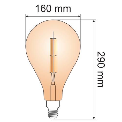 10W dubbeldekker filament lamp XXL, 2000K, amber glas Ø160 - dimbaar