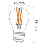 2,5W & 4,5W filament lamp, 2200-2700K, helder glas Ø45, dim-to-warm