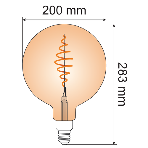 8,5W croissant spiraal lamp XXXL, 2000K, amber glas Ø200 - dimbaar
