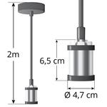 Moderne zilveren snoerpendel incl. 5W XL lamp, amber glas, 1800K, Ø95