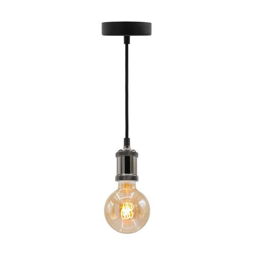 Moderne glanzende zwarte snoerpendel incl. 5W XL lamp, amber glas, 1800K, Ø95