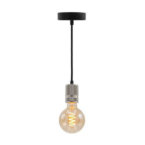 Industriële zilveren snoerpendel incl. 5W XL lamp, amber glas, 1800K, Ø95