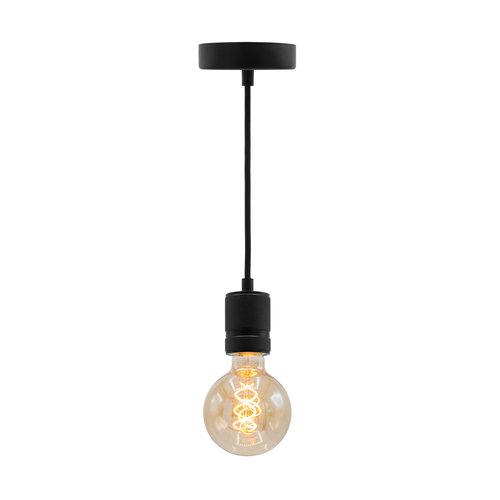Industriële mat zwarte snoerpendel incl. 5W XL lamp, amber glas, 1800K, Ø95