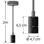 Industriële matte zwarte snoerpendel incl. 5W XL lamp, amber glas, 1800K, Ø95