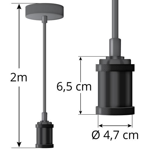Moderne matte zwarte snoerpendel incl. 5W XL lamp, amber glas, 1800K, Ø95