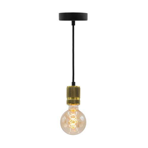 Industriële gouden snoerpendel incl. 5W XL lamp, amber glas, 1800K, Ø95