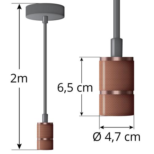 Industriële rosé gouden snoerpendel incl. 8,5W tot 10W XXL lamp, amber glas, 2000K, Ø160