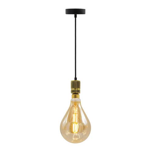 Industriële gouden snoerpendel incl. 8,5W tot 10W XXL lamp, amber glas, 2000K, Ø160