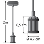Moderne glanzende zwarte snoerpendel incl. 8,5W tot 10W XXXL lamp, amber glas, 2000K, Ø200