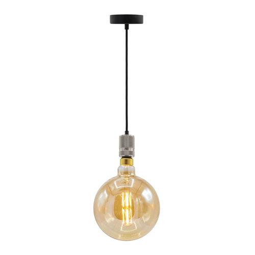 Industriële zilveren snoerpendel incl. 8,5W tot 10W XXXL lamp, amber glas, 2000K, Ø200