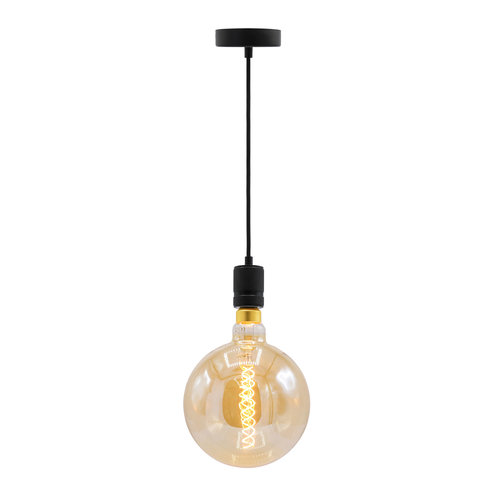 Industriële mat zwarte snoerpendel incl. 8,5W tot 10W XXXL lamp, amber glas, 2000K, Ø200