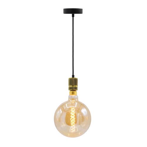 Industriële gouden snoerpendel incl. 8,5W tot 10W XXXL lamp, amber glas, 2000K, Ø200