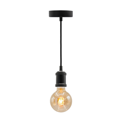 Moderne mat zwarte snoerpendel incl. 5W XL lamp, amber glas, 1800K, Ø95