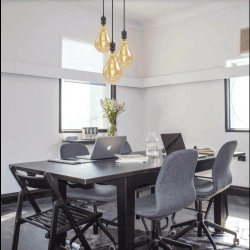 Industriële glanzende zwarte snoerpendel incl. 8,5W tot 10W XXL lamp, amber glas, 2000K, Ø160