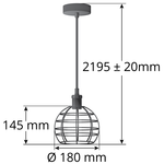 Hanglamp Hugo incl. 5W spiraal lamp, amber glas, 1800K, Ø95