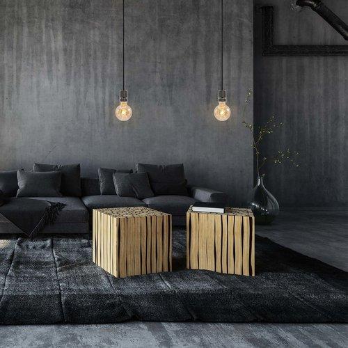 Industriële glanzende zwarte snoerpendel incl. 5W XL lamp, amber glas, 1800K, Ø95