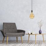 Industriële glanzende zwarte snoerpendel incl. 8,5W tot 10W XXXL lamp, amber glas, 2000K, Ø200