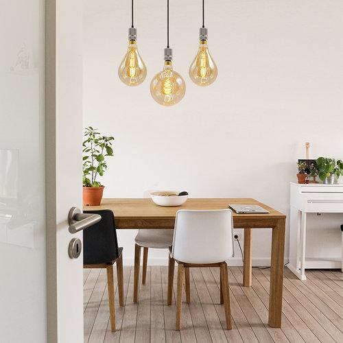 Industriële zilveren snoerpendel incl. 8,5W tot 10W XXL lamp, amber glas, 2000K, Ø160