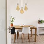 Moderne zilveren snoerpendel incl. 8,5W tot 10W XXL lamp, amber glas, 2000K, Ø160