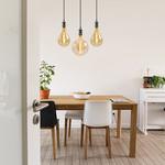 Moderne glanzende zwarte snoerpendel incl. 8,5W tot 10W XXL lamp, amber glas, 2000K, Ø160