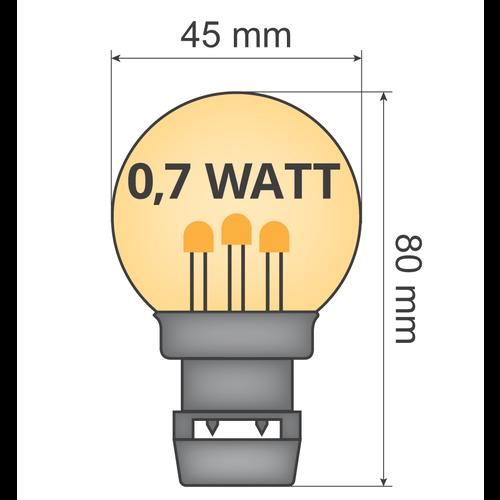 Lichtsnoer voor buiten van 19 meter met 40 extra warm witte LED lampen