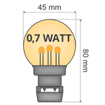 Lichtsnoer voor buiten van 37 meter met 80 extra warm witte LED lampen