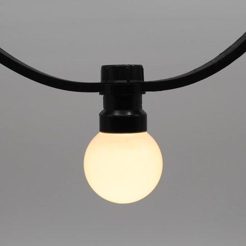 Lichtsnoer voor buiten van 95,5 meter met 200 melkwitte LED lampen