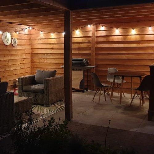 Lichtsnoer voor buiten van 37 meter met 80 melkwitte LED lampen