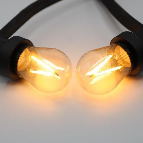 Tweede kans - prikkabel set van 25 meter met 75 fittingen en  3 watt dimbare LED filament lampen