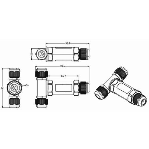 Waterproof connector (5 pin T-vorm) - niet geschikt voor prikkabels