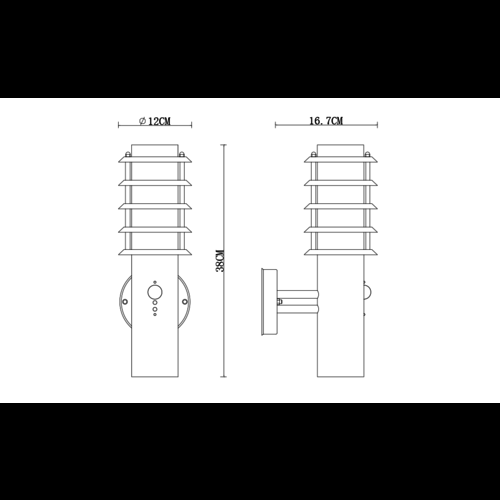RVS wandlamp met sensor - Salvatore