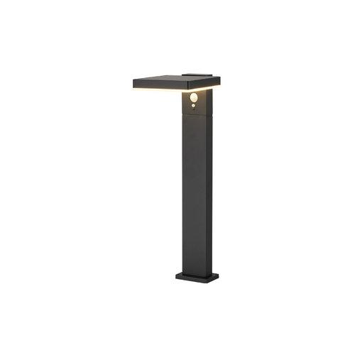 Zwarte staande buitenlamp met sensor Paulo - 50 cm