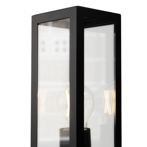 Industriële RVS zwarte buitenlamp Alessio met glas, 50 cm