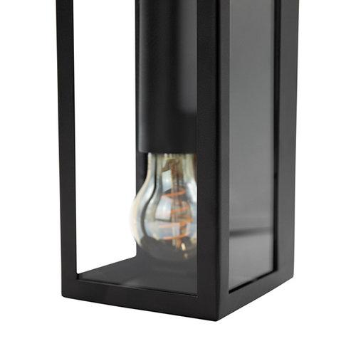 RVS zwarte wandlamp Diana 2-lichts met glas
