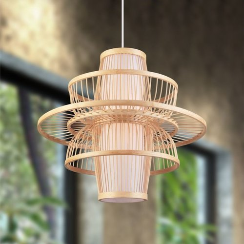 Landelijke hanglamp gelaagde bamboe – Kyoto