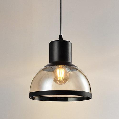 Klassieke hanglamp met zwart en amber glas - Paris
