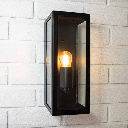 RVS moderne zwarte wandlamp met glas - Filippo
