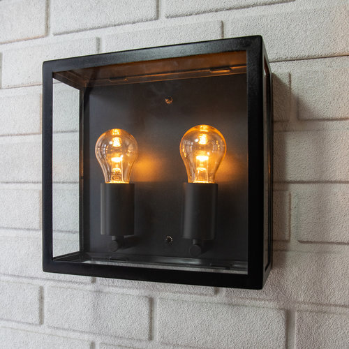 Industriële RVS muurlamp Gabriella met glas - zwart