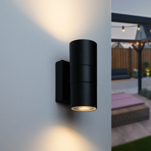 Rond wandlamp zwart Olivia - 2-lichts