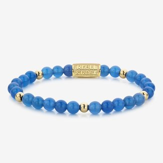 Rebel & Rose More Balls Than Most - Brightening Blue - 6mm - yellow gold plated