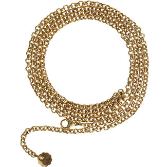 Pimps & Pearls Ketting Edelstaal  90cm Fijn Jasseron - Goudkleurig