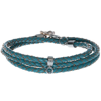 Pimps & Pearls Ketting 90 cm Gevlochten Leer - Turquoise
