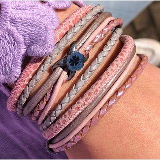 Pimps & Pearls Armband  Floral Roze Grijs