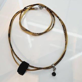 Pimps & Pearls Ketting/Wikkelarmband Suse - Gold/Snake
