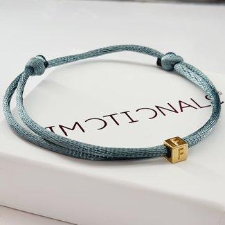 Imotionals Armband Silk Cord Blok Initials | Goud