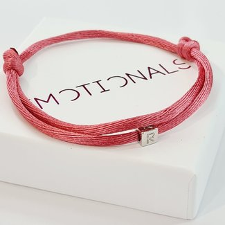 Imotionals Armband Silk Cord Blok Initials | Zilver