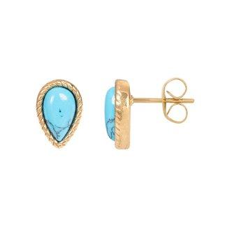 IXXXI Jewelry Earstud Magic Turquoise - Goudkleurig