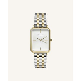 ROSEFIELD Dames Horloge The Octagon White Sunray Silver Gold Duotone 23*29mm