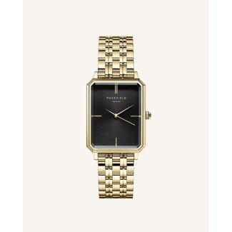 ROSEFIELD Dames Horloge The Octagon Black Sunray Steel Gold 23*29mm
