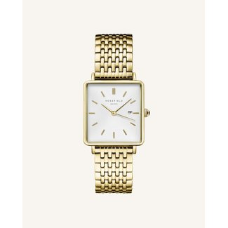 ROSEFIELD Dames Horloge The Boxy White Sunray Gold 33mm